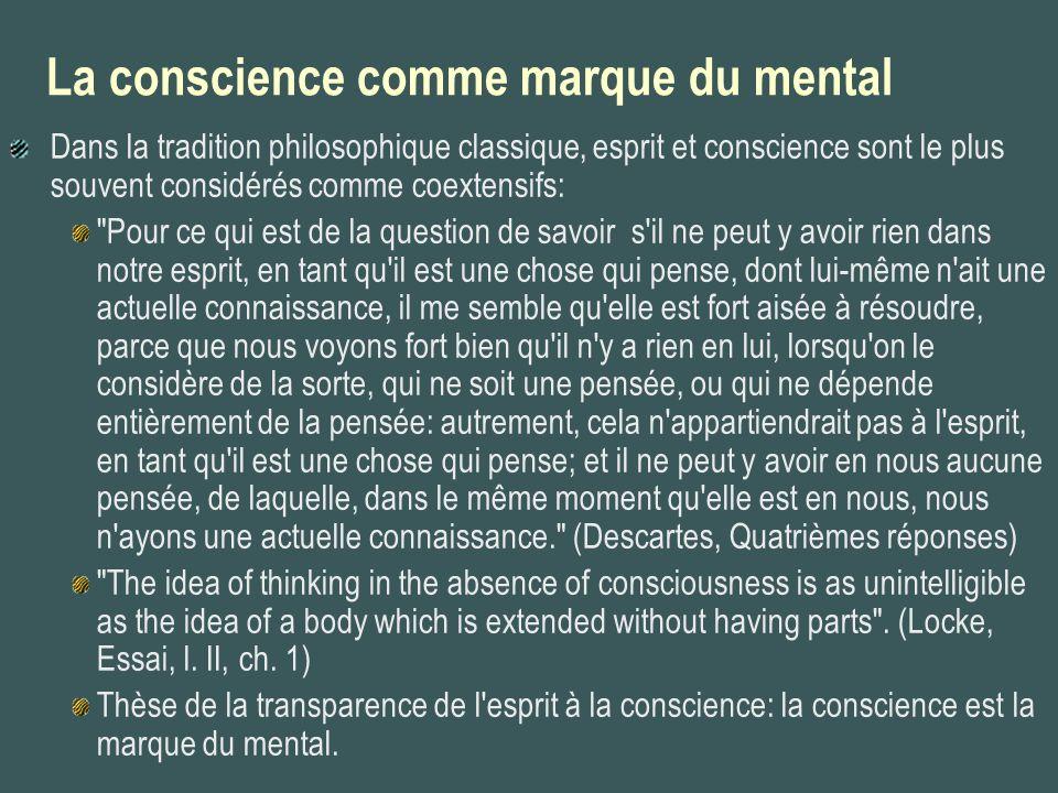 La conscience comme marque du mental