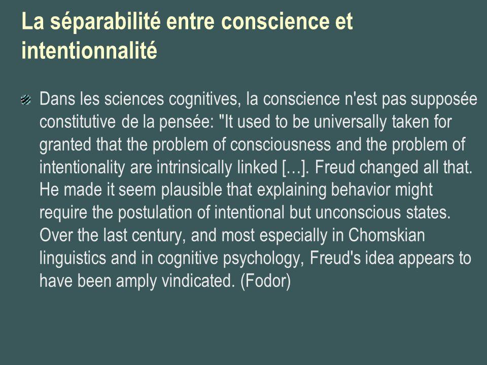 La séparabilité entre conscience et intentionnalité