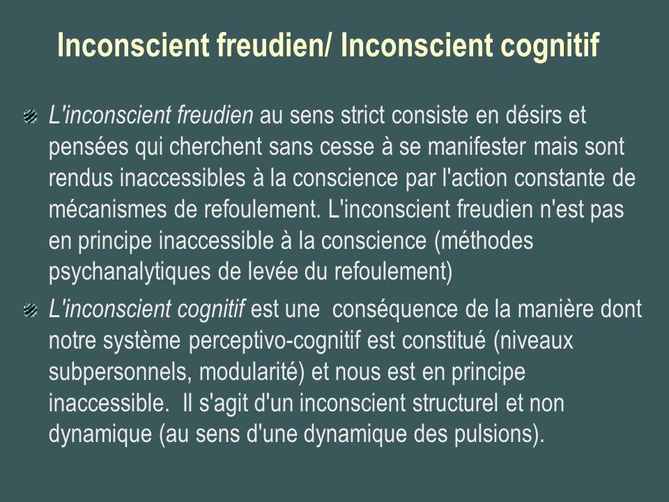 Inconscient freudien/ Inconscient cognitif