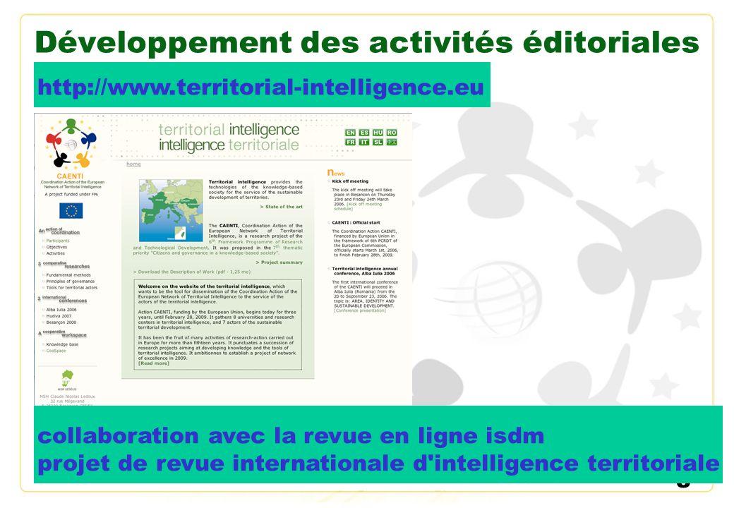 Développement des activités éditoriales