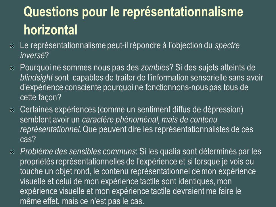 Questions pour le représentationnalisme horizontal