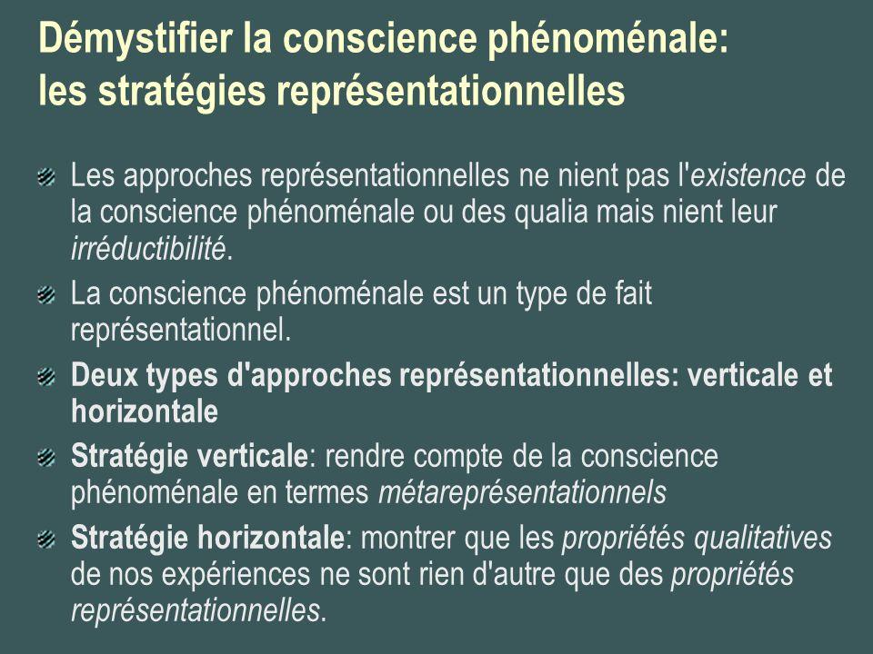 Démystifier la conscience phénoménale: les stratégies représentationnelles