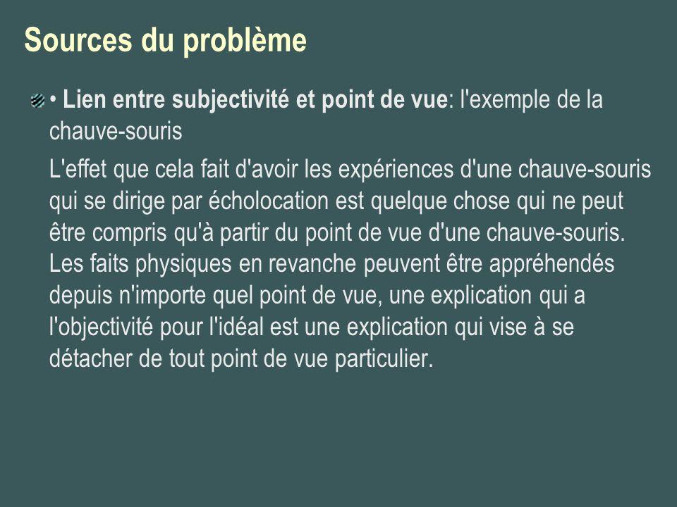 Sources du problème• Lien entre subjectivité et point de vue: l exemple de la chauve-souris.