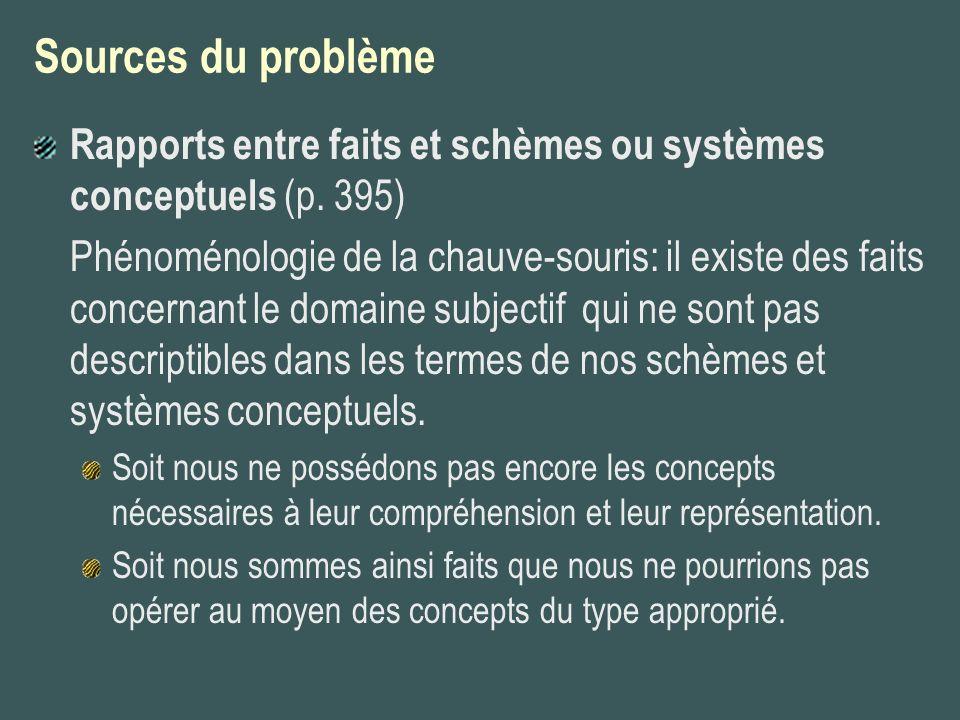 Sources du problème Rapports entre faits et schèmes ou systèmes conceptuels (p. 395)