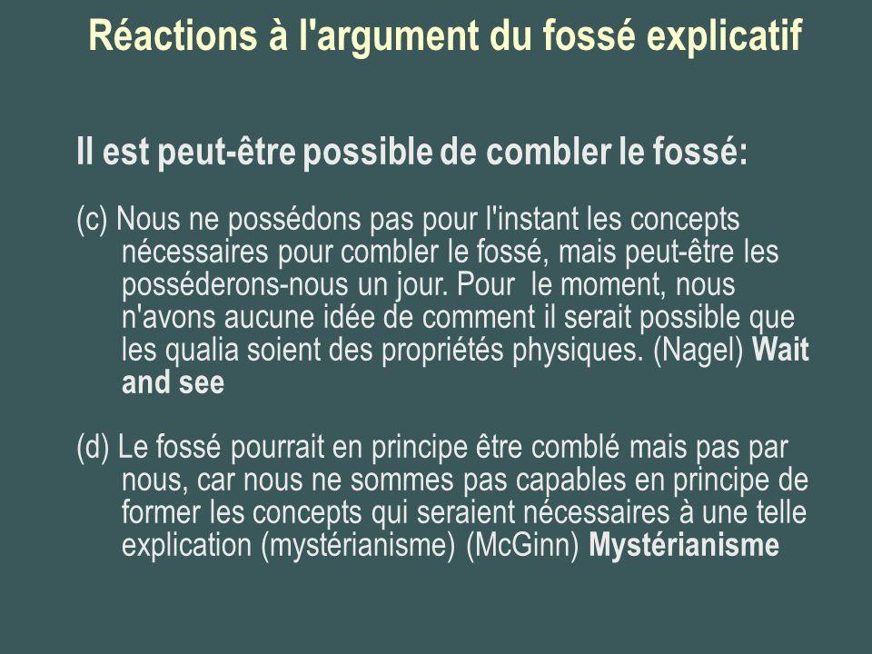 Réactions à l argument du fossé explicatif