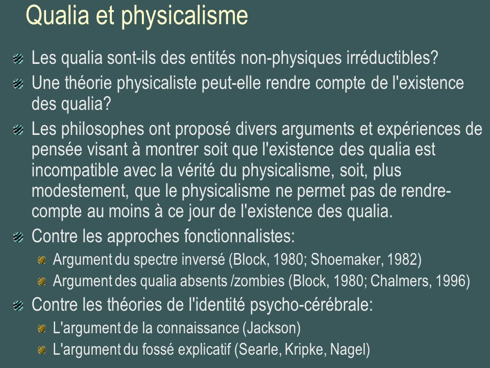 Qualia et physicalisme