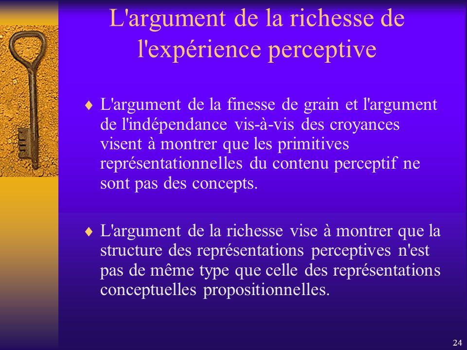 L argument de la richesse de l expérience perceptive