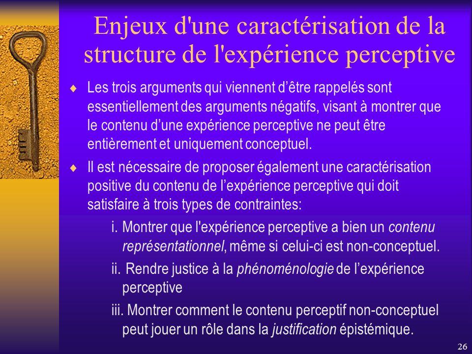Enjeux d une caractérisation de la structure de l expérience perceptive