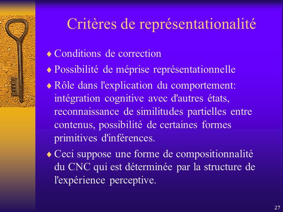 Critères de représentationalité
