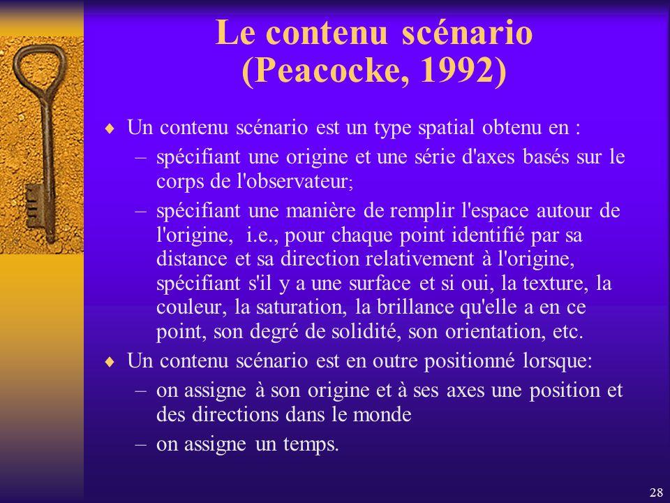 Le contenu scénario (Peacocke, 1992)