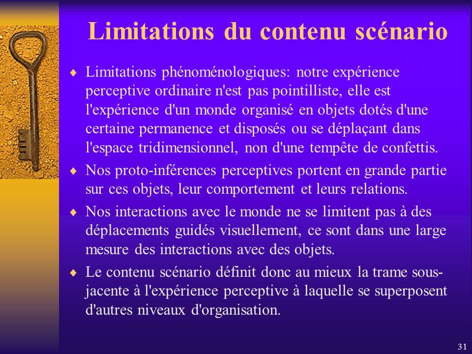 Limitations du contenu scénario