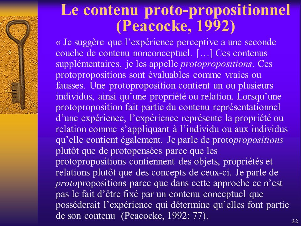 Le contenu proto-propositionnel (Peacocke, 1992)