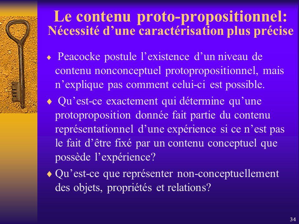 Le contenu proto-propositionnel: Nécessité d'une caractérisation plus précise