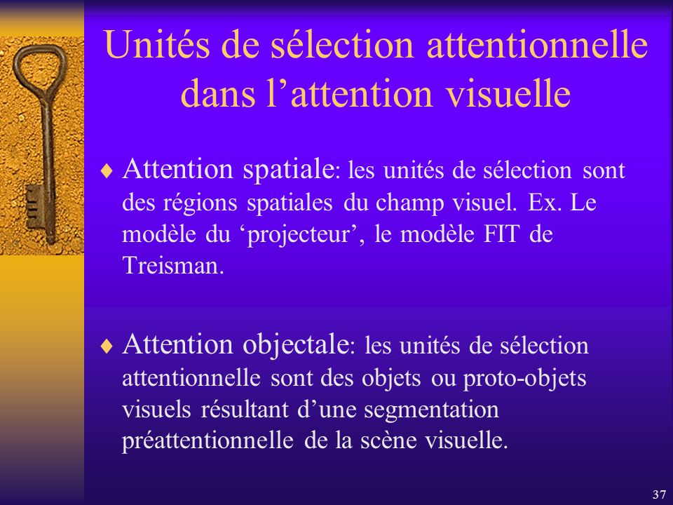 Unités de sélection attentionnelle dans l'attention visuelle