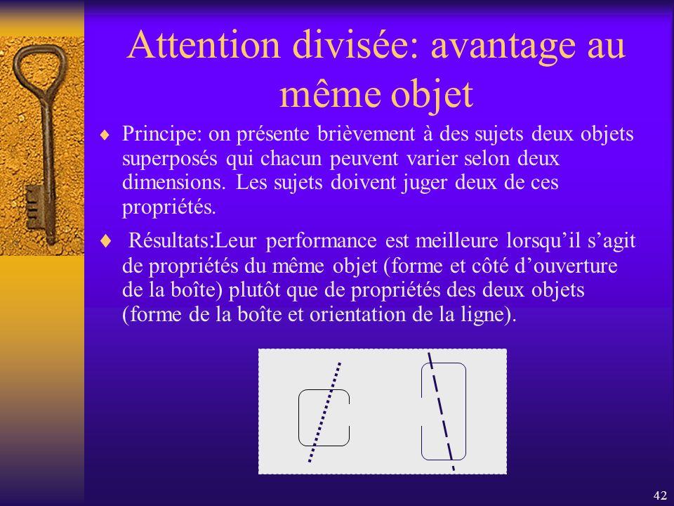 Attention divisée: avantage au même objet