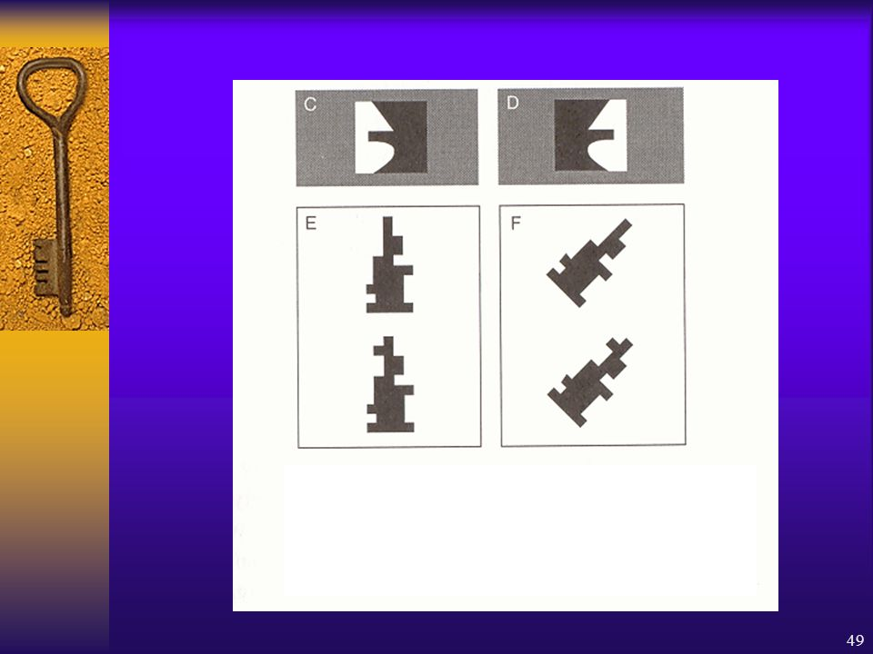 Les patients héminégligents reconnaissent plus facilement une figure lorsque le bord qui la définit est sur le côté droit (lampe en C) que lorsqu'il est sur le côté gauche (D)