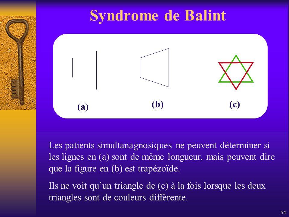 Syndrome de Balint (a) (b) (c)