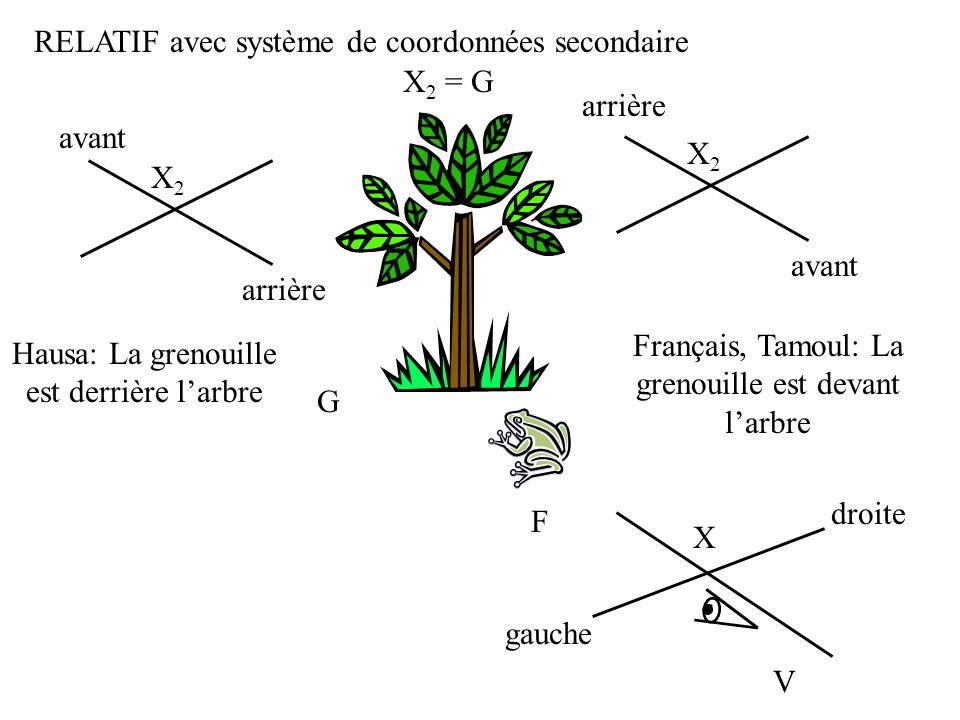RELATIF avec système de coordonnées secondaire X2 = G arrière avant X2