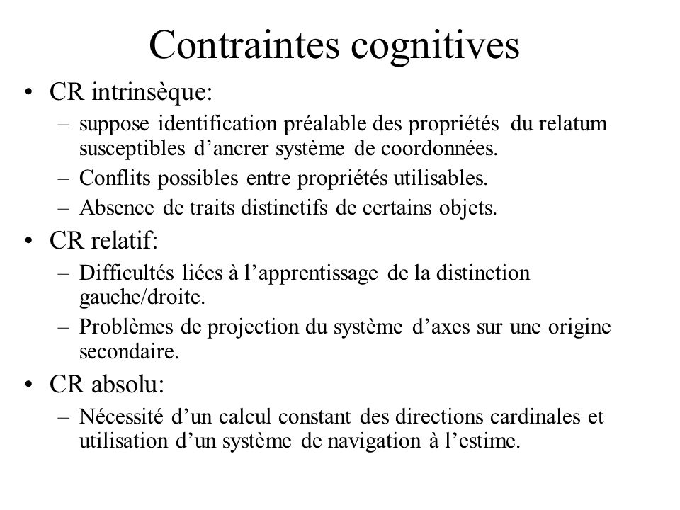 Contraintes cognitives