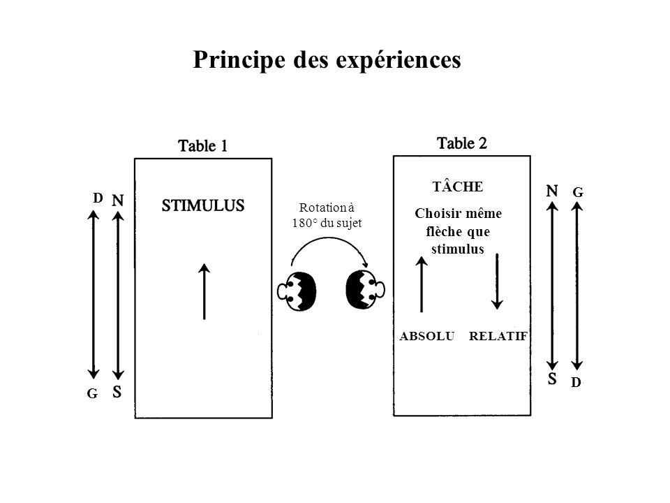 Principe des expériences Choisir même flèche que stimulus