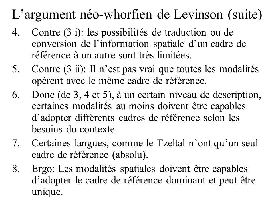 L'argument néo-whorfien de Levinson (suite)