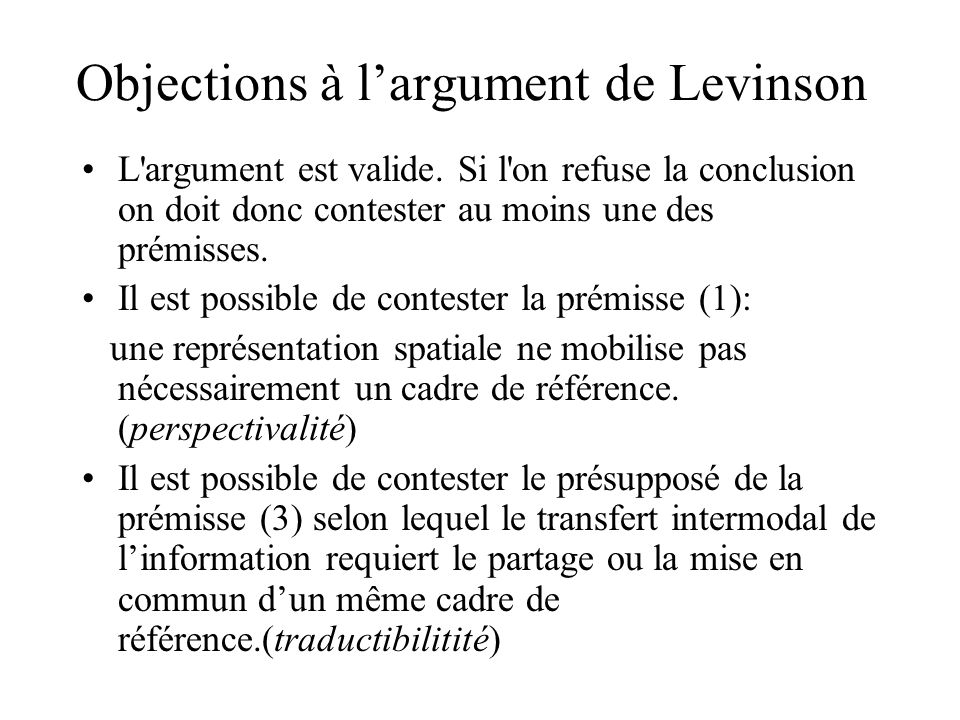 Objections à l'argument de Levinson