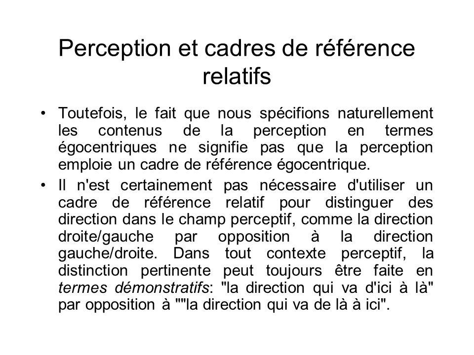 Perception et cadres de référence relatifs