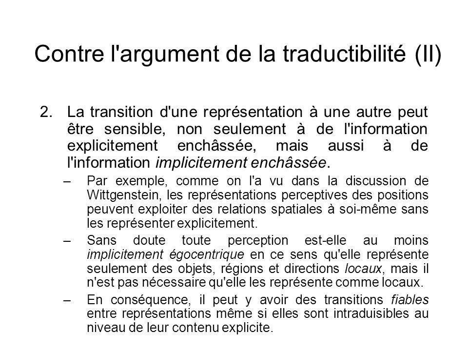 Contre l argument de la traductibilité (II)