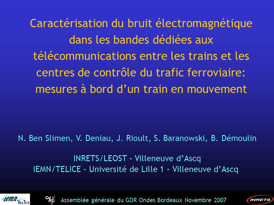 Caractérisation du bruit électromagnétique dans les bandes dédiées aux télécommunications entre les trains et les centres de contrôle du trafic ferroviaire: mesures à bord d'un train en mouvement