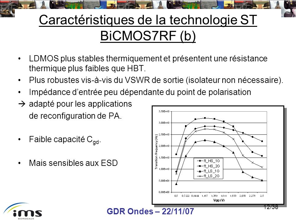 Caractéristiques de la technologie ST BiCMOS7RF (b)