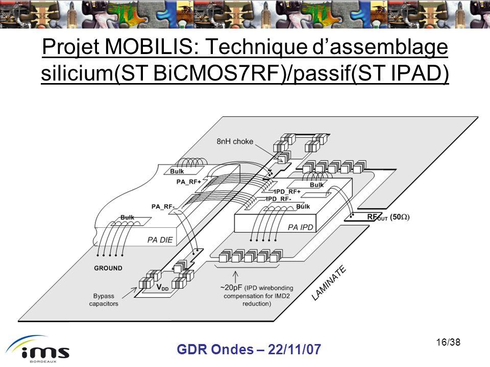 Projet MOBILIS: Technique d'assemblage silicium(ST BiCMOS7RF)/passif(ST IPAD)
