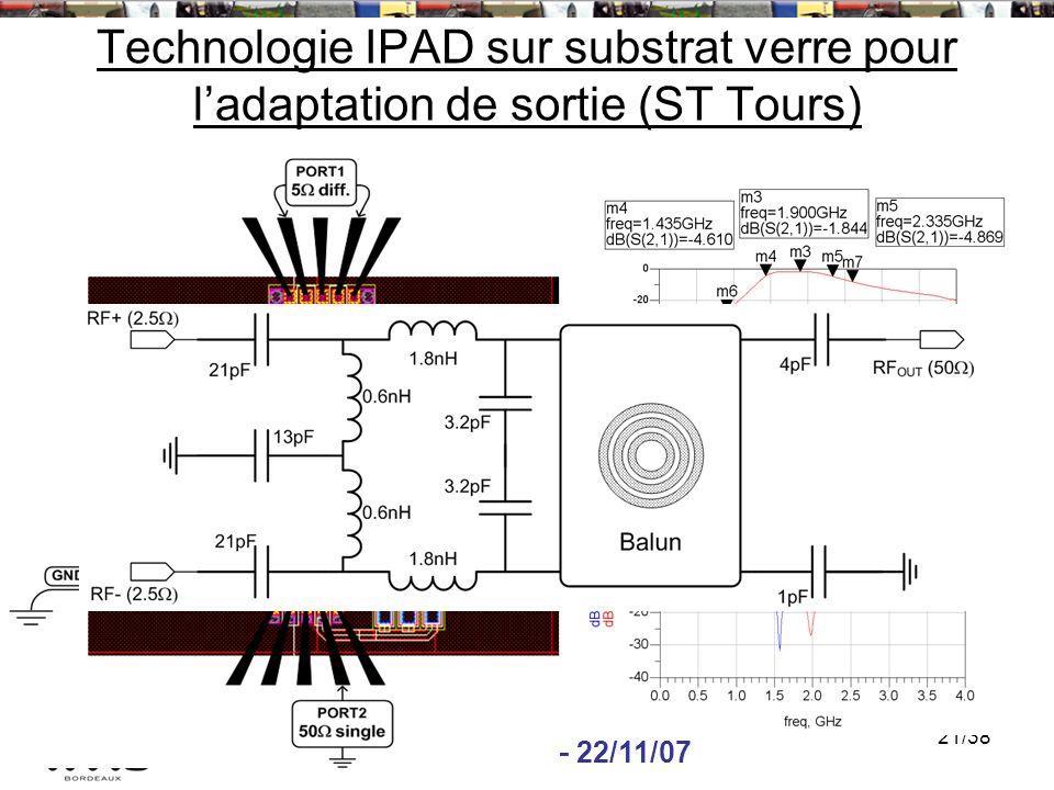 Technologie IPAD sur substrat verre pour l'adaptation de sortie (ST Tours)