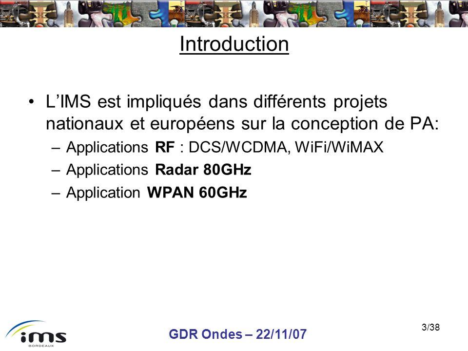 Introduction L'IMS est impliqués dans différents projets nationaux et européens sur la conception de PA: