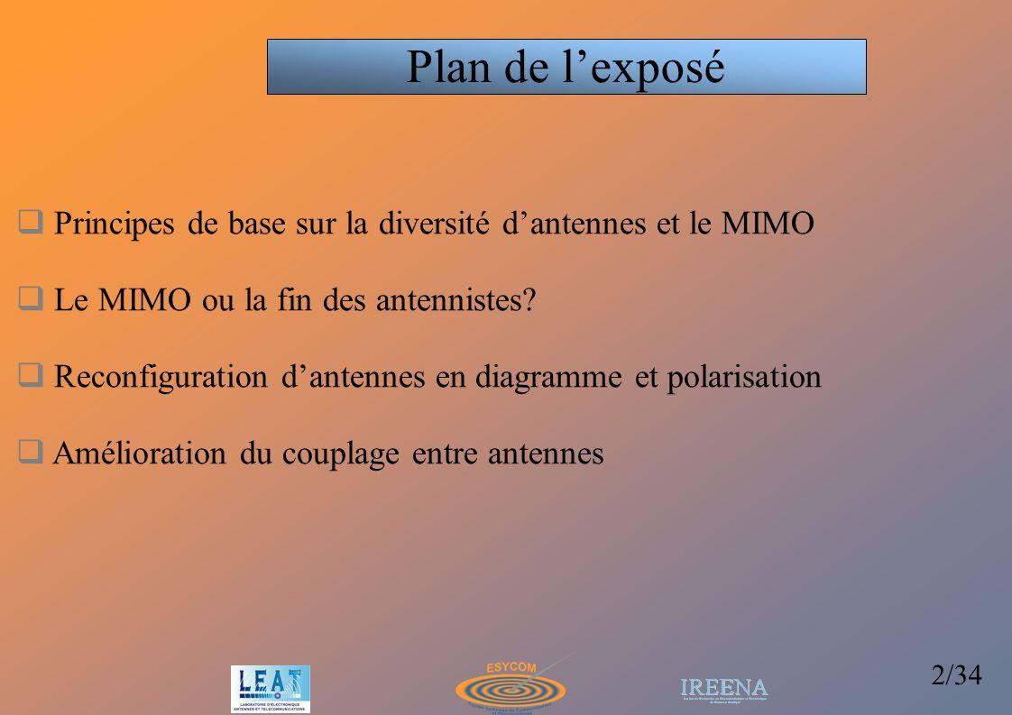 Plan de l'exposé Principes de base sur la diversité d'antennes et le MIMO. Le MIMO ou la fin des antennistes