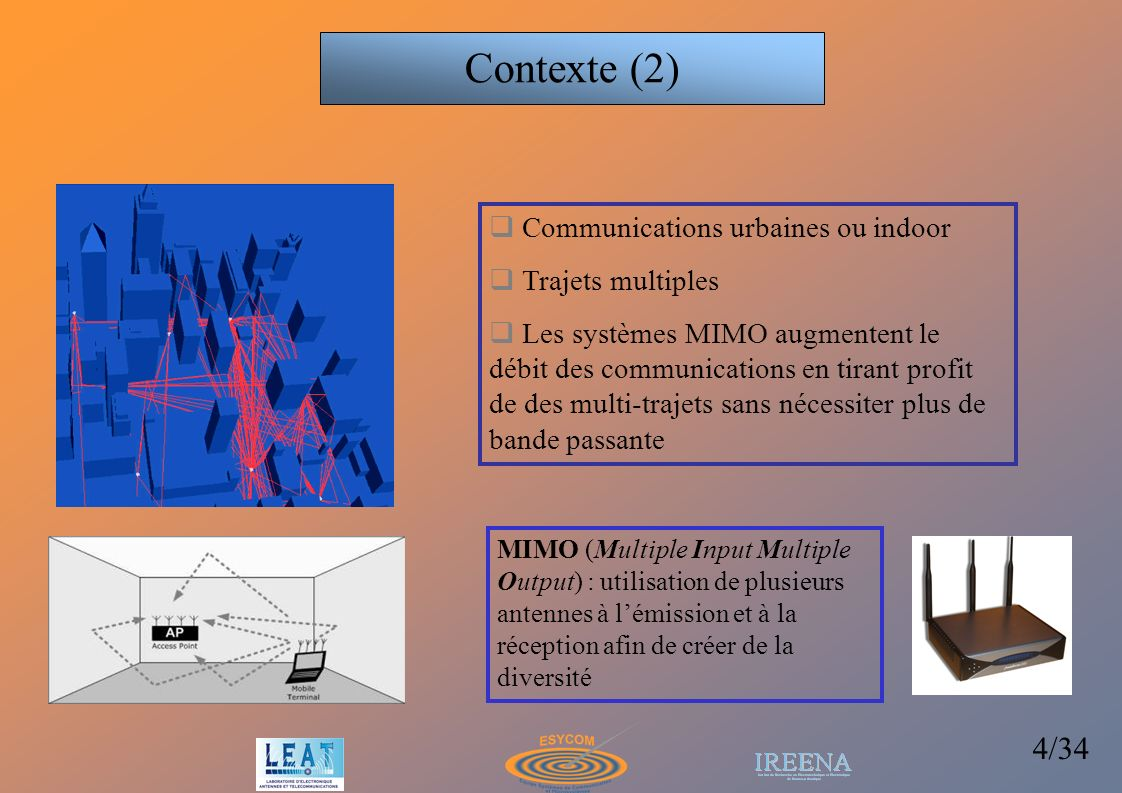 Contexte (2) Communications urbaines ou indoor Trajets multiples