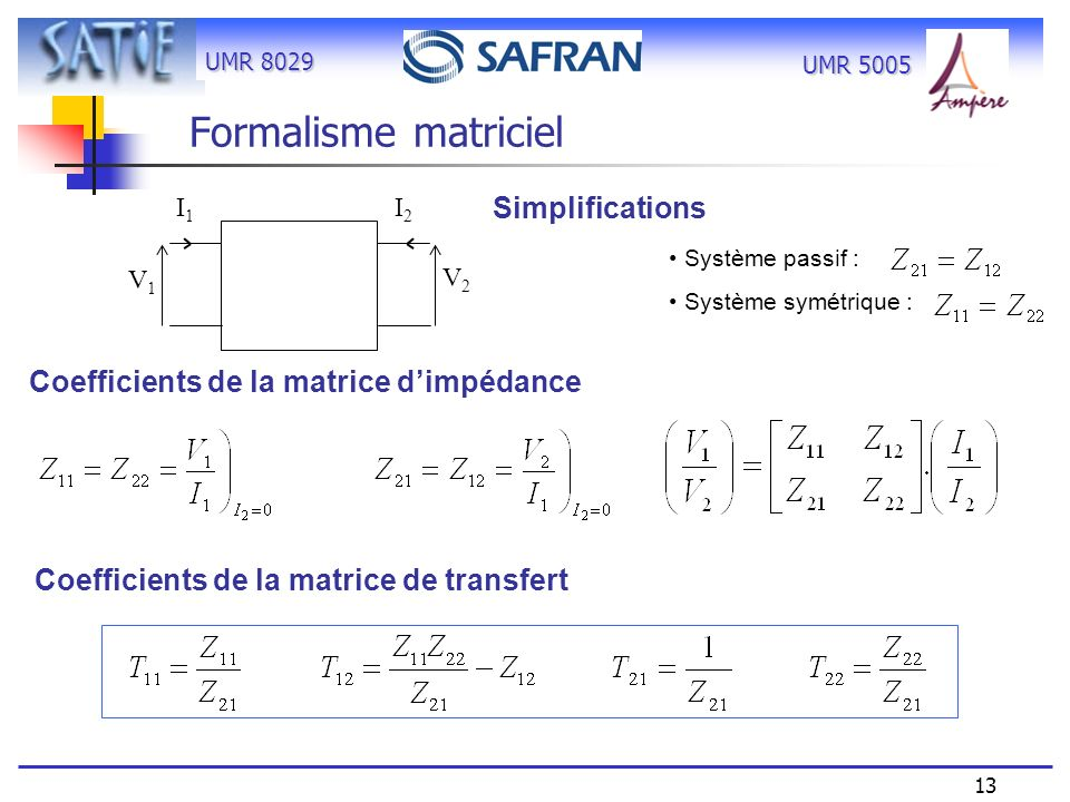 Formalisme matriciel Simplifications