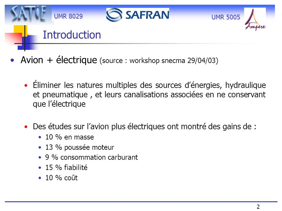 Introduction Avion + électrique (source : workshop snecma 29/04/03)