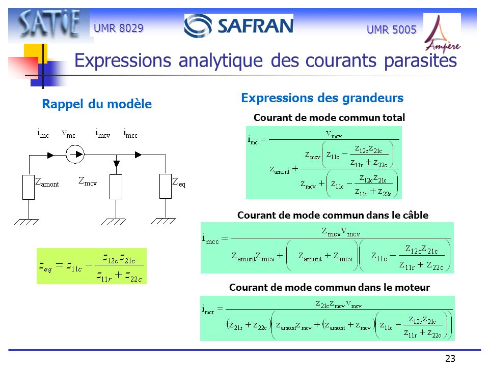 Expressions analytique des courants parasites