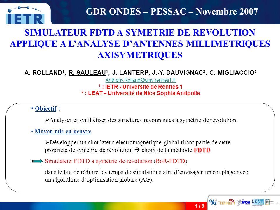 GDR ONDES – PESSAC – Novembre 2007
