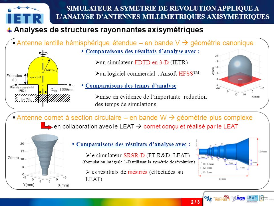 Analyses de structures rayonnantes axisymétriques