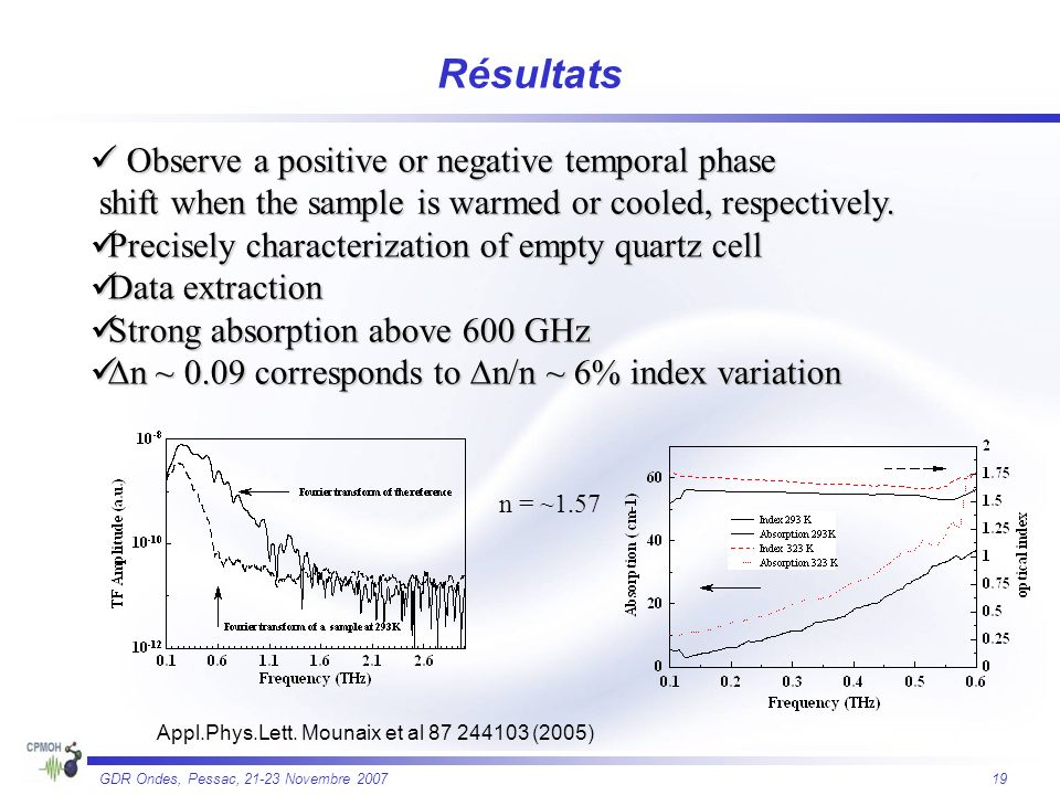 Résultats  Observe a positive or negative temporal phase