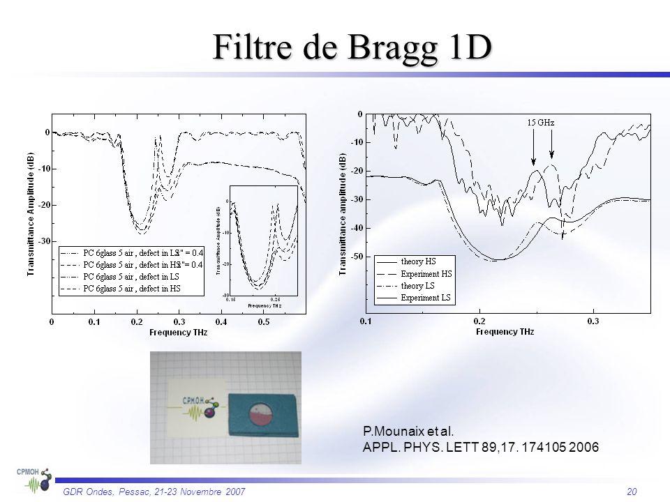 Filtre de Bragg 1D P.Mounaix et al.