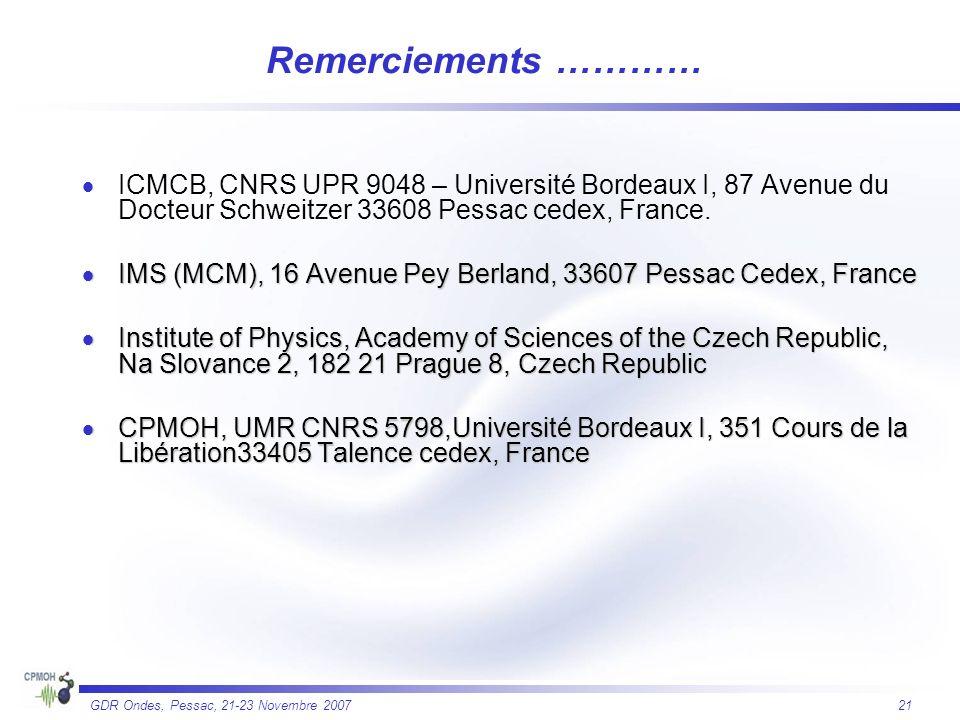 Remerciements ………… ICMCB, CNRS UPR 9048 – Université Bordeaux I, 87 Avenue du Docteur Schweitzer 33608 Pessac cedex, France.