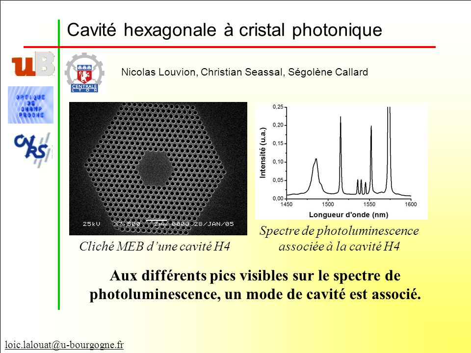 Cavité hexagonale à cristal photonique