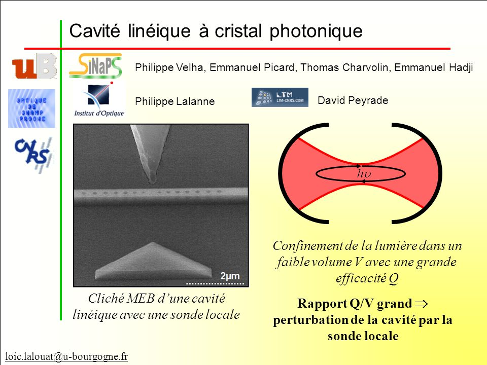 Rapport Q/V grand  perturbation de la cavité par la sonde locale