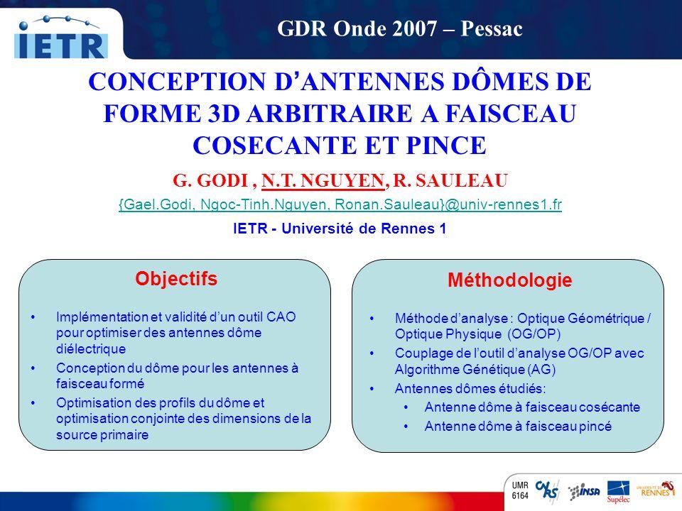 G. GODI , N.T. NGUYEN, R. SAULEAU IETR - Université de Rennes 1