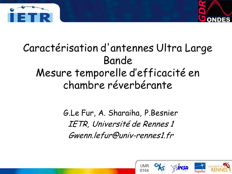 Caractérisation d antennes Ultra Large Bande Mesure temporelle d'efficacité en chambre réverbérante