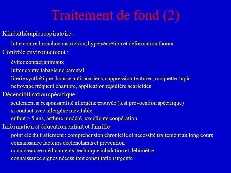 Traitement de fond (2) Kinésithérapie respiratoire : lutte contre bronchoconstriction, hypersécrétion et déformation thorax.
