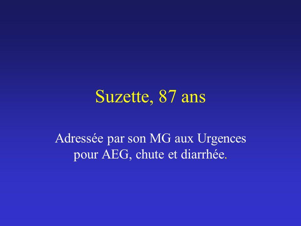 Adressée par son MG aux Urgences pour AEG, chute et diarrhée.