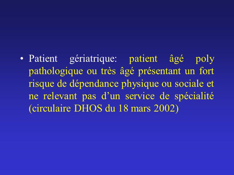 Patient gériatrique: patient âgé poly pathologique ou très âgé présentant un fort risque de dépendance physique ou sociale et ne relevant pas d'un service de spécialité (circulaire DHOS du 18 mars 2002)